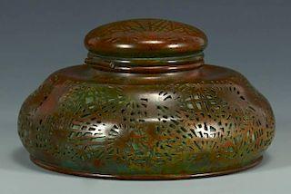 Tiffany Bronze & Glass Inkwell, Pine Needle Pattern