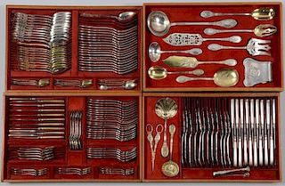 148 pcs French Silver Flatware with crests