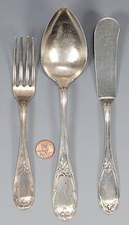 3 pcs. GA Coin Silver Flatware, A. H. Dewitt