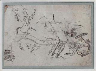 AFTER PAUL GAUGUIN SKETCH ON PAPER ON ARTIST BOARD