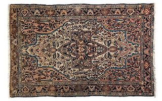 A Sarouk Farahan Wool Rug 4 feet 10 inches x 3 feet 2 inches.