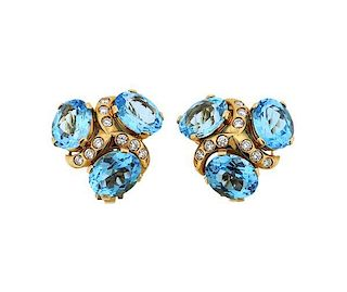 Verdura 18K Gold Diamond Blue Topaz Earrings