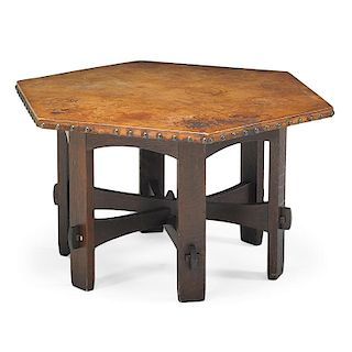 GUSTAV STICKLEY Leather-top hexagonal table