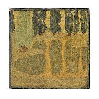 ARTHUR BAGGS; MARBLEHEAD Fine and rare tile