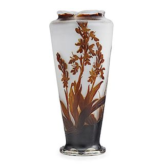 GALLE Silver-mounted cameo glass vase