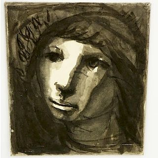 """In The Manner Of Odilon Redon, French (1840-1916) Watercolor on paper laid down on cardboard """"Christ Drawing"""" Unsigned."""