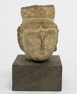 Antique Chinese Guanyin- Carved Stone Bust