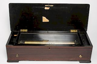 Swiss Antique Music Box, 9-Tune, in Marquetry Case