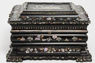Antique Victorian Lacquer Jewelry/ Vanity Box