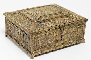 Belgian Brass Cigarette Box, Renaissance-Style