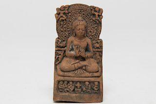 Tibetan Buddha Shakyamuni Carved Clay Tablet