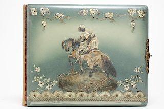 Victorian Enamel Antique Photo Album, Orientalist
