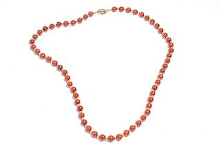 Chinese Red Jade Beaded Necklace
