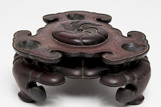 Chinese Qing Carved Hardwood 2-Level Stand