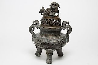 Chinese Metal Antique Censer & Brass Lid