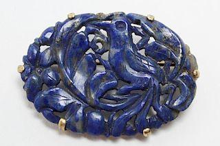 Chinese Lapis Lazuli & 14K Gold Brooch