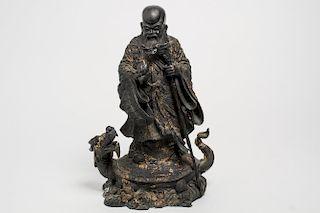 Chinese Shou, God of Longevity, Cast Bronze Figure