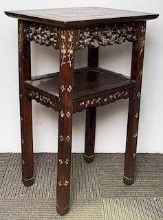 Chinese Mother-of-Pearl Inlaid Hardwood Stand