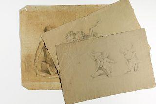 Italian School- 3 Charcoal & Chalk/ Paper Drawings