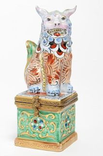 Rochard Limoges Chinese Foo Dog Porcelain Box