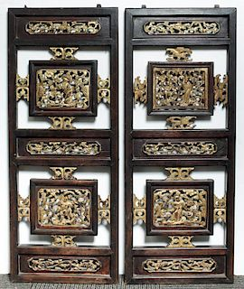 Chinese Carved Wood Cabinet Doors, Antique Pair