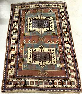 Colorful Kazak Hall Carpet