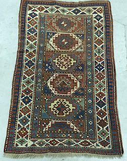 Colorful Kazak Center Hall Mat