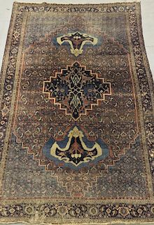 Bijar Carpet with Three Medallions, Blue Field