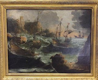 Oil on Canvas of Ships Navigating Rocky Shore