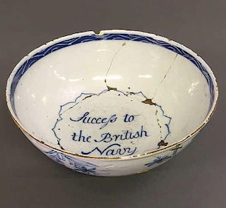 "Early Delft Bowl ""Success to the British Navy"""