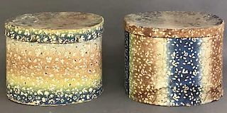 Two Similar Wallpapered Hat Boxes