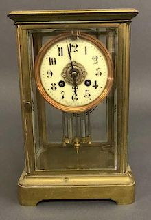 French Glass and Brass Shelf Clock