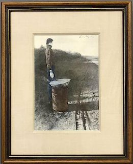 "Andrew Wyeth Hand Signed Print ""Roasted Chestnuts"""