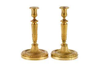 Pair, Gilt Bronze Candlesticks, Henry Dasson