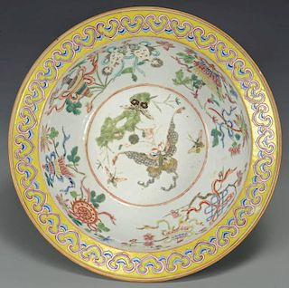 Large Qing Bowl with butterflies, yellow rim