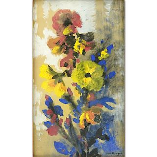Attributed to: Kees van Dongen, Dutch/French (1877-1968) Mixed Media on Board, Still Life with Flowers.