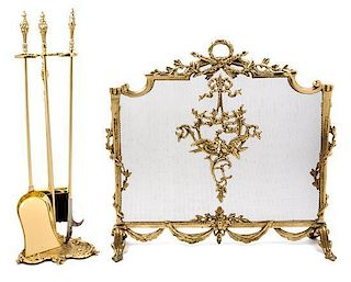 * Two Rococo Style Brass Firescreens Height of taller screen 29 1/2 inches.