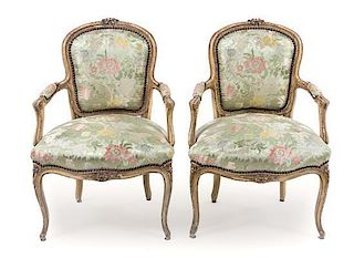 * A Pair of Louis XV Style Painted Fauteuils Height 34 inches.