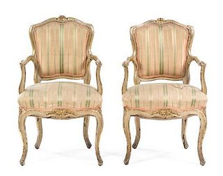 * A Pair of Louis XV Style Painted Fauteuils Height 34 1/2 inches.