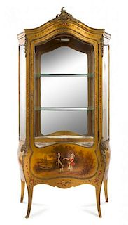* A Louis XV Style Gilt Bronze Mounted Vernis Martin Vitrine Height 74 1/8 x width 37 1/2 x depth 18 inches.