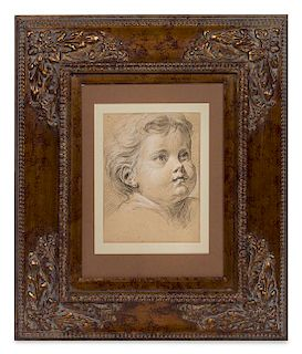 Joseph Francois Ignace Parrocel, (French, 1704-1781), Study of a Head of a Putto