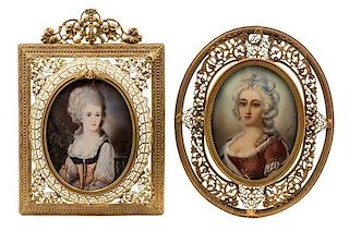 * Two Continental Portrait Miniatures Larger example 3 3/8 x 2 1/2 inches.
