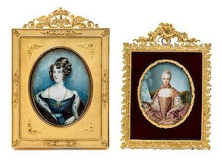 * Two Continental Portrait Miniatures Larger example 4 3/4 x 3 3/4 inches.