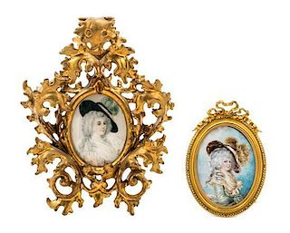* Two Continental Portrait Miniatures Larger example 4 x 3 inches.