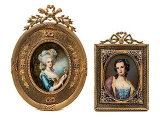 * Two Continental Portrait Miniatures Larger example 4 x 3 1/4 inches.