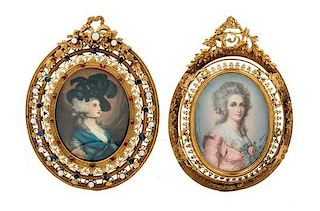 * Two Continental Portrait Miniatures Each 3 1/2 x 2 1/2 inches.