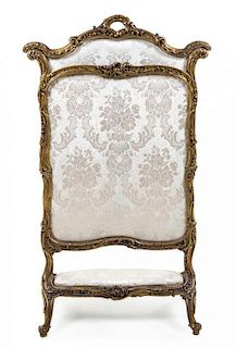 * A Louis XV Style Giltwood Firescreen Height 55 5/8 inches.
