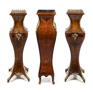 * Three Louis XV Style Gilt Metal Mounted Pedestals Height 43 inches.