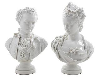 A Pair of Vion & Baury Porcelain Busts Height of tallest 16 1/4 inches.