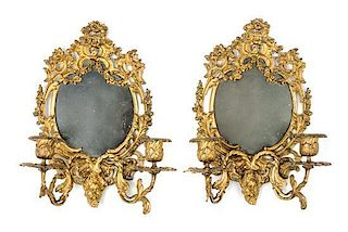 * A Pair of Rococo Style Gilt Metal Sconces Height 12 inches.